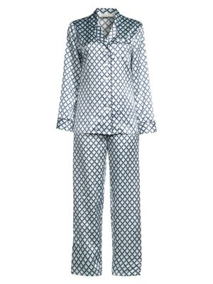 GINIA Nocello Print Two-Piece Silk-Blend Pajamas in French Navy