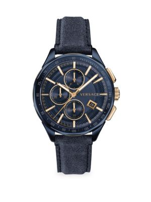 Versace Men's Glaze Blue Dial Leather Strap Watch