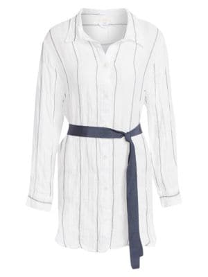 Awning Stripe Jack Shirt Dress by Eberjey Swim