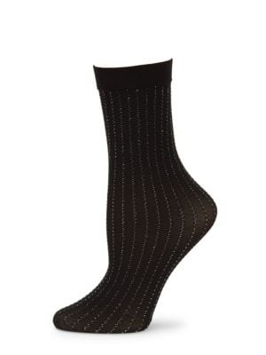 Sparkle Stripe Metallic Knitted Socks in Black