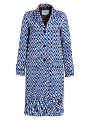 Geometric-Print Neoprene Topcoat - Blue Size 44 It