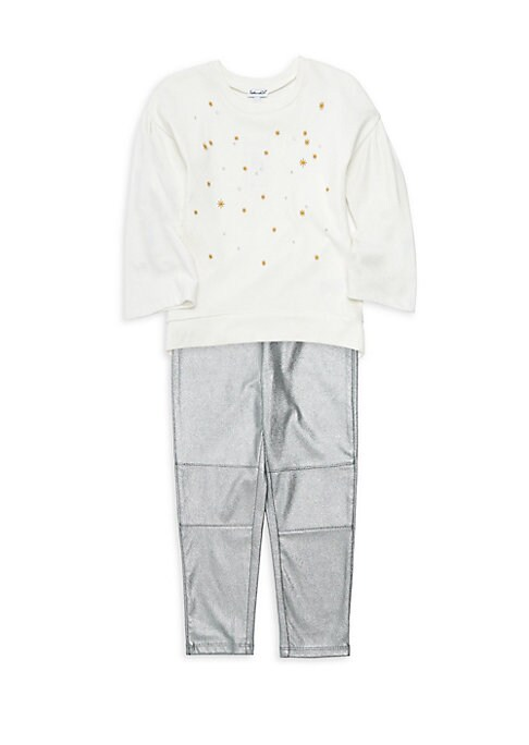 Image of Two-piece set of a comfy cotton-blend top with embroidered stars and stretch metallic pant set. Machine wash. Imported. TOP. Crewneck. Long sleeves. Pullover style. Embroidered stars. Cotton/rayon. PANTS. Elasticated waist. Pull-on style. Elasticated hem.