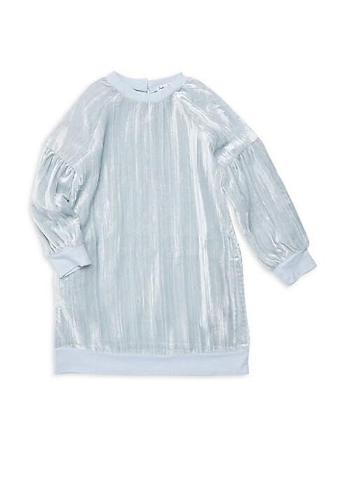 Little Girls Crinkle Velvet Sweatshirt Dress