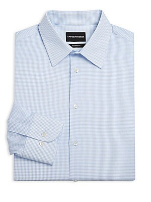 """Image of Geometric check print lends a timeless look to this dress shirt. Point collar Long sleeves Buttoned barreled cuffs Button front Cotton Dry clean Made in Italy SIZE & FIT Modern-fit About 30"""" from shoulder to hem. Men Luxury Coll - Armani Dress Shirts. Emp"""