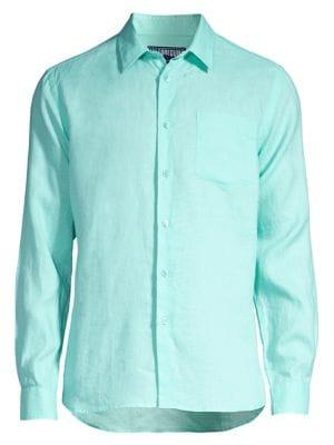 Vilebrequin T-shirts Caroubis Linen Button-Down Shirt