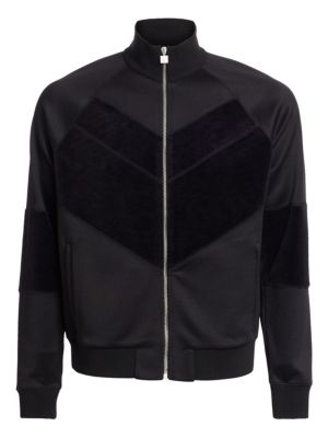 Givenchy Cottons Technical Jersey Velvet-Chevron Jacket