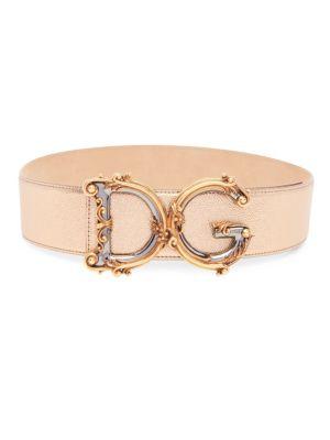 Barocco Logo Leather Belt by Dolce & Gabbana