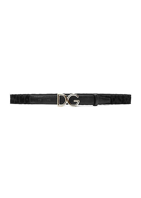 """Image of Subdued leopard print accentuates bold goldtone logo on belt. Nylon/polyethylene/polyester/spandex/leather. Made in Italy. SIZE. Width, 1""""."""