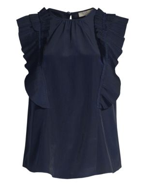 Cruzita Pleated-Ruffle Blouse in Navy from Joie