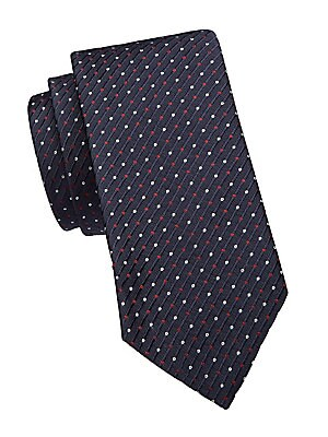 """Image of Two tone dots adorn this diamond jacquard tie. Lined Silk Dry clean Made in Italy of imported fabric SIZE Width, about 3"""". Men Luxury Coll - Armani Neckwear. Emporio Armani. Color: Navy."""