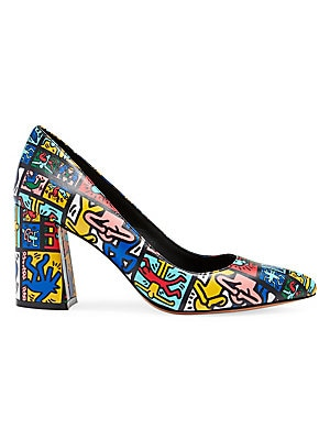 """Image of A bold abstract print enhances these street-style pumps set on a chunky block heel. Leather upper Point toe Slip-on style Leather lining and sole Imported SIZE Self-covered block heel, 3"""" (76mm). Women's Shoes - Contemporary Womens Shoe. Alice + Olivia. S"""