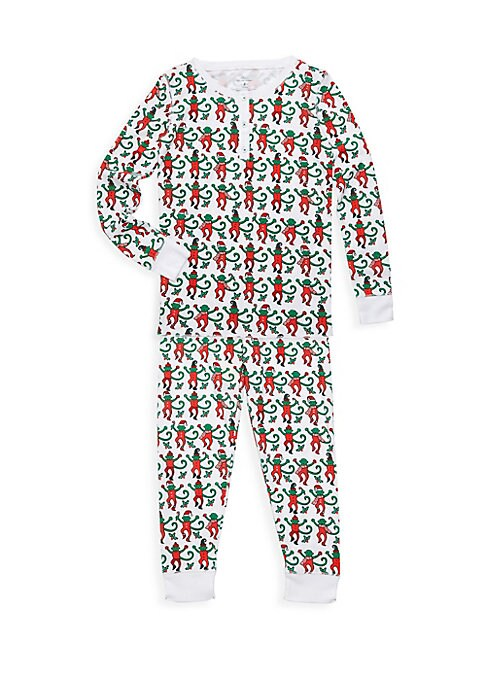 Image of Adorable dancing monkeys wearing holiday suits adorn these pajamas in an allover style. Pima cotton. Machine wash. Imported. TOP. Crewneck. Long sleeves. Rib-knit neck, cuffs and hem. Three-button placket. PANTS. Elasticized waist. Pull-on style. Rib-knit