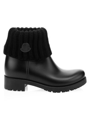 Ginette Stivale Knit Collar Leather Bootie in Black