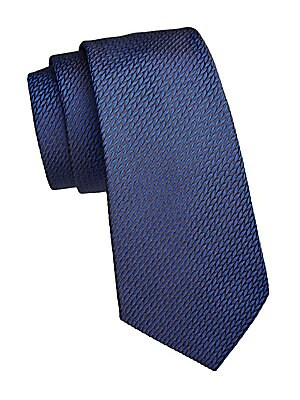 "Image of Luxurious silk tie with a woven jacquard aesthetic. Silk Dry clean Made in Italy SIZE Width, 3"". Men Luxury Coll - Armani Neckwear. Emporio Armani. Color: Blue."