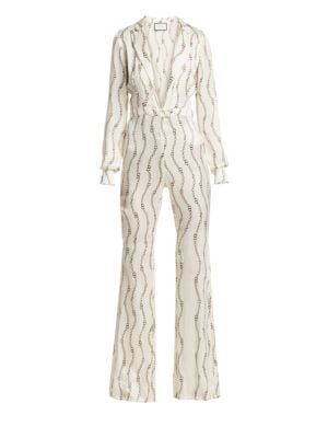 Danai Printed Long-Sleeve Plunging Jumpsuit in Cream Rolo