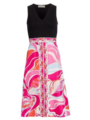 Emilio Pucci Silks Printed Silk Fit-&-Flare Dress
