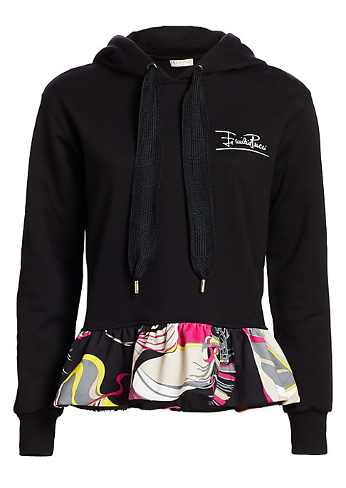 Image of A flirty ruffle hem boasting a multicolor print adds a feminine twist to this hooded sweatshirt. A cotton construction ensures a breathable fit. Attached drawstring hood. Long sleeves. Ribbed cuffs. Pullover style. Ruffle hem. Cotton. Hand wash. Made in I