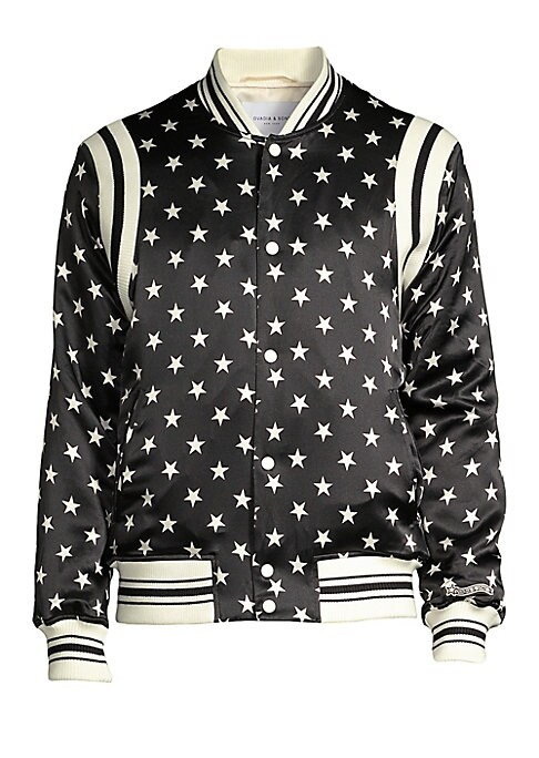 """Image of Ribbed trim enhances the athletic appeal of this star print bomber jacket. Baseball collar. Long sleeves. Ribbed cuffs and hem. Snap button front. Waist welt pockets. Silk. Machine wash. Imported. SIZE & FIT. About 26"""" from shoulder to hem."""