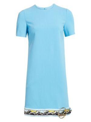 Buckle Hem Border Print Shift Dress in Light Blue