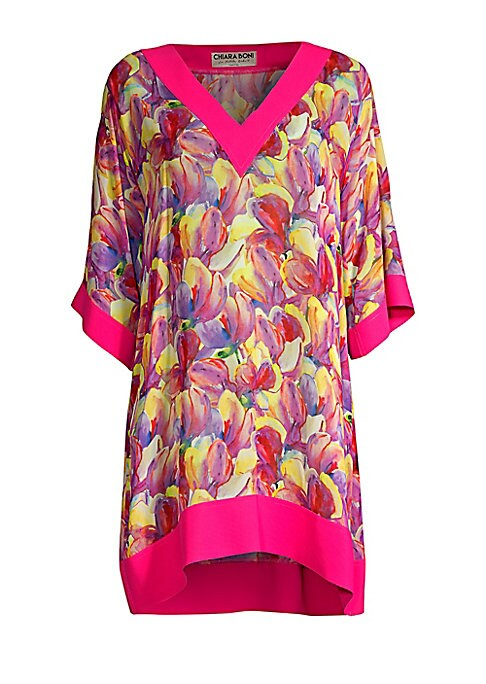 "Image of Beautiful free-flowing cover-up flaunts vibrant abstract floral print and solid trim.V-neck. Short kimono sleeves. Pullover style. Silk. Trim: Polyamide/elastane. Dry clean. Made in Italy. SIZE & FIT. Loose silhouette. About 32.5"" from shoulder to hem. Mo"