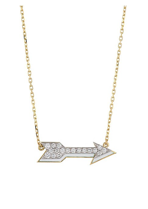 Image of From the Motif Collection. A twinkling diamond-encrusted gold and platinum arrow hangs from a gold chain. Diamonds, 0.80 tcw. Diamond clarity: VS. Diamond color: G-H.Platinum.18K yellow gold. White enamel. Barrel clasp. Made in USA. SIZE. Length, about 16