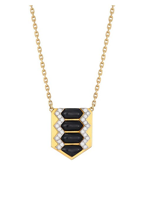 Image of From the Motif Collection. 18K yellow gold and platinum shield necklace set with twinkling diamonds and black enamel accent. Diamonds, 0.56 tcw. Diamond clarity: VS. Diamond color: G-H.Platinum.18K yellow gold. Black enamel. Barrel clasp. Made in USA. SIZ