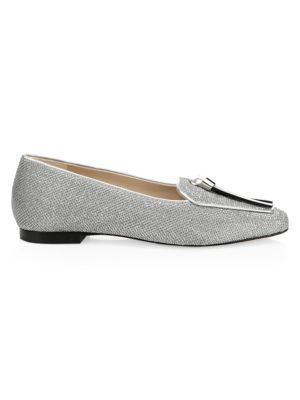 Slip Knot Metalilc Leather Loafers in Silver