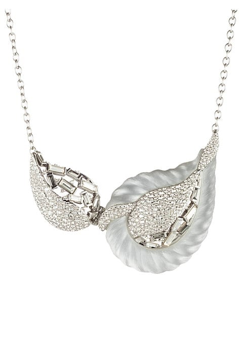 """Image of Crystal pave adds shine to paisley rope bib necklace. Swarovski crystals. Lucite. Rhodium. Lobster clasp. Made in USA. SIZE. Length, about 16"""" with 3"""" extender."""