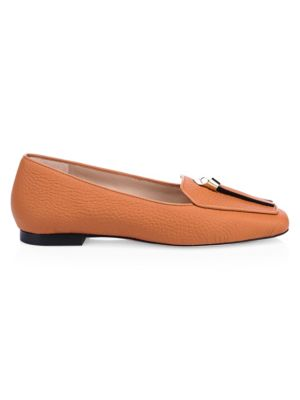 Slip Knot Pebbled Loafers in Tan