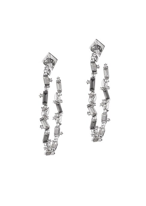 """Image of Baguette crystals cover classic silvertone hoop earrings. Swarovski crystals. Silvertone. Post back. Made in USA. SIZE. Diameter, 2.3""""."""