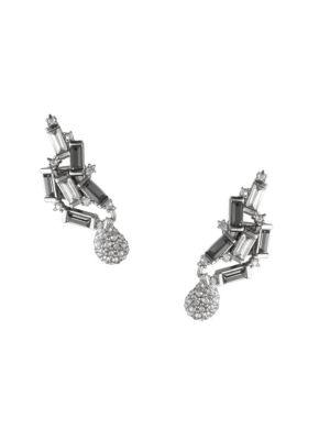 Climbing Crystal Baguette Post Earrings in Silver