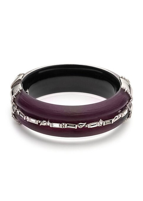 """Image of Baguette crystals encircle lucite hinge bangle. Crystals. Lucite. Rhodium with ruthenium accents. Hinge closure. Made in USA. SIZE. Diameter, about 3""""."""