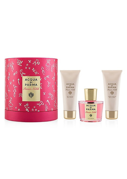 Image of $270 VALUE. WHAT IT IS. The festive Peonia Nobile fragrance collection includes an Eau de Parfum, a hydrating Shower Gel and a Body Cream, infused with feminine and floral amber notes. The collection is presented in a festive gift box decorated with a sea