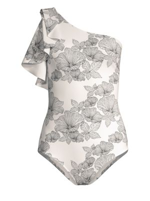 Chiara Boni La Petite Robe Amin Floral Print One Shoulder One Piece Swimsuit