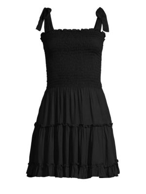 COOLCHANGE Raegan Smocked Bodice Tiered Ruffled A-Line Dress in Black