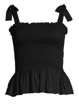 COOLCHANGE Holly Tie-Strap Smocked Peplum Top in Black