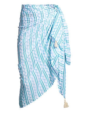 "Image of A graphic stripe print and tassel trim adorns this lightweight sarong. Tassel trim Rayon Hand wash Imported SIZE 75""W x 45""L. Outerwear And S - Contemporary Swim > Saks Fifth Avenue. coolchange. Color: Ocean."