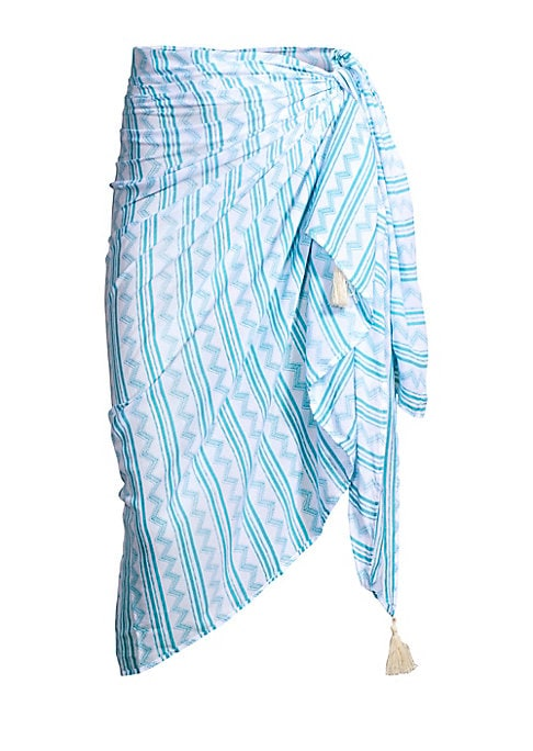 """Image of A graphic stripe print and tassel trim adorns this lightweight sarong. Tassel trim. Rayon. Hand wash. Imported. SIZE.75""""W x 45""""L."""