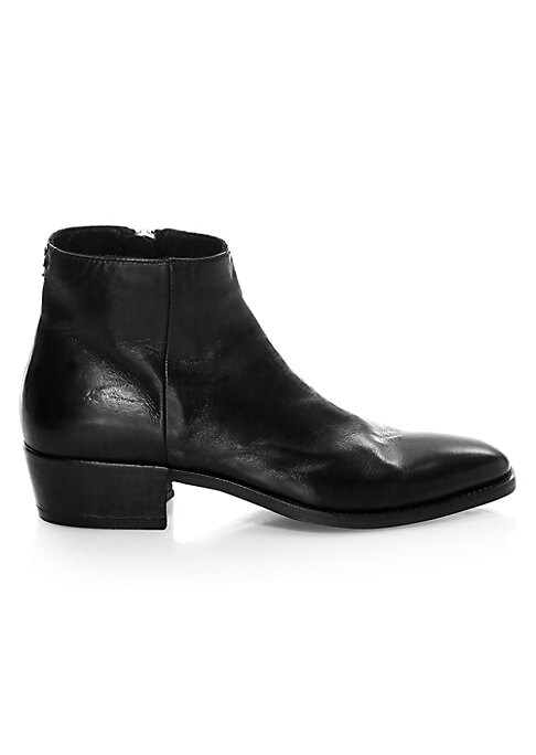 """Image of EXCLUSIVELY AT SAKS FIFTH AVENUE. Supple leather lends a vintage sensibility to these ankle boots. Leather upper. Almond toe. Side zip closure. Leather lining and sole. Padded insole. Made in Italy. SIZE. Block heel, 1.63"""" (41mm).Shaft, 5.5""""."""