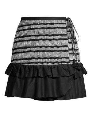 Kisuii Shirley Wrap Stripe Skirt