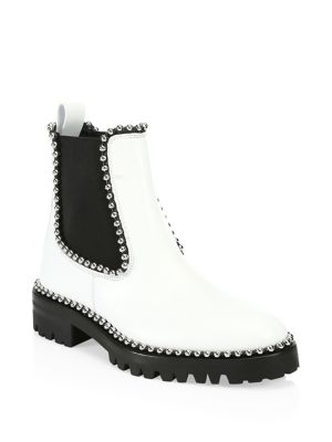Spencer Ball-Studded Leather Chelsea Boots in White