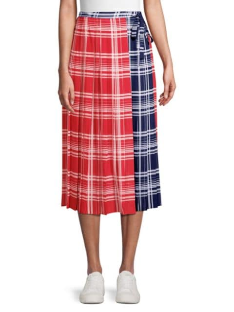 Tommy Hilfiger Collection Pleated Madras Wrap Skirt | SaksFifthAvenue