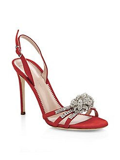 c2d9022f79ace6 Product image. QUICK VIEW. Giuseppe Zanotti. Ornament Crystal Suede  Slingback Sandals