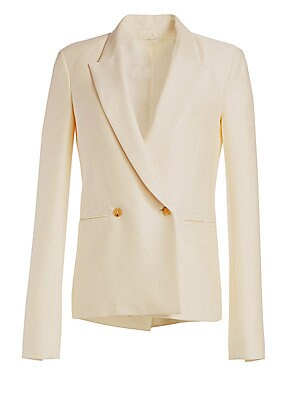 Image of Sharp peak lapels lend a structural aesthetic to this sleek virgin wool and silk jacket. Flaunting a relaxed silhouette and elongated sleeves, this is a contemporary interpretation on the boyfriend jacket. Peak lapels Long sleeves Buttoned cuffs Double-br