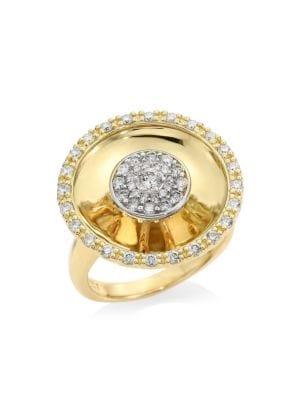 PLEVÉ Aura 18K Yellow Gold & Diamond Round Cocktail Ring