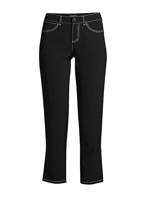 """Image of Tailored cigarette pant with a chic cropped leg and bold contrast stitching. Button waist closure. Zip fly. Back patch pockets. Polyester/polyurethane. Dry clean. Imported. SIZE & FIT. Inseam, about 25"""".Model shown is 5'10"""" (177cm) wearing US size 4."""
