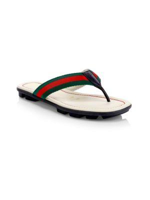 500ea4f01 Gucci - Web & Leather Thong Sandals - saks.com