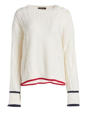 Loro Piana Baby Cashmere Button-Shoulder Sweater