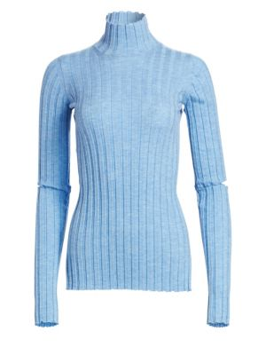 Cutout Ribbed Wool Turtleneck Sweater in Light Blue