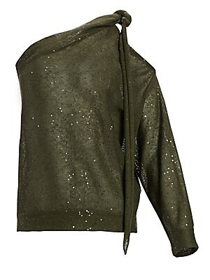Image of A lightweight linen & silk knit in a slouchy one-shoulder silhouette for an elevated casual look. Delicate shimmering sequins dot this top that features a subtle twisted strap detail at the shoulder. One shoulder neckline Long blouson sleeve with shoulder